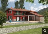 rendering di casa in collina